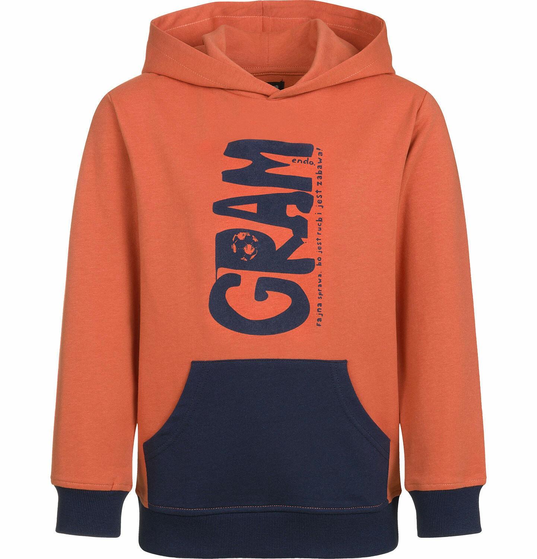 Endo - Bluza z kapturem dla chłopca, gram, z kieszenią typu kangur, pomarańczowa, 2-8 lat C03C006_1