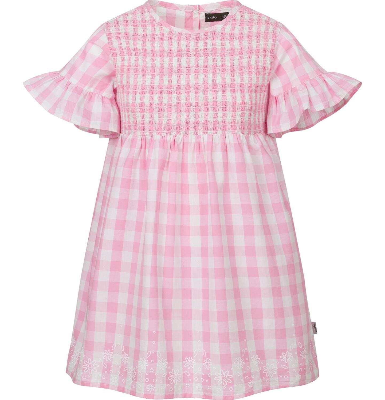 Endo - Sukienka z krótkim rękawem i marszczeniem z przodu, w kratę, biało-różowa, 9-13 lat D03H523_1