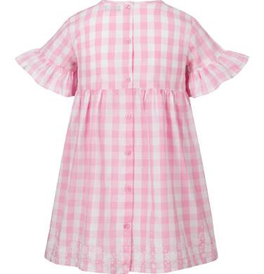 Endo - Sukienka z krótkim rękawem i marszczeniem z przodu, w kratę, biało-różowa, 9-13 lat D03H523_1,2