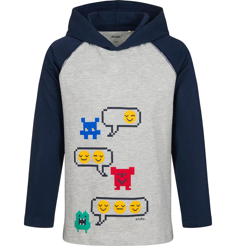 Endo - T-shirt z długim rękawem i kapturem dla chłopca, szary, 2-8 lat C04G166_1