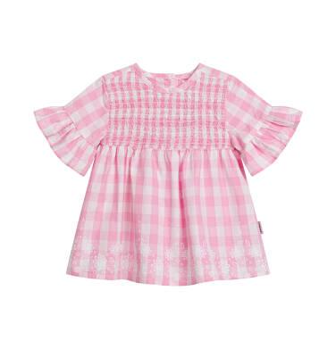 Endo - Sukienka z krótkim rękawem i marszczeniem z przodu dla dziewczynki do 2 lat, w kratę, biało-różowa N03H008_1 2