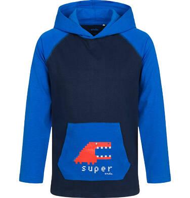 Endo - T-shirt z długim rękawem i kapturem dla chłopca, niebieski, 2-8  lat C04G167_1 1