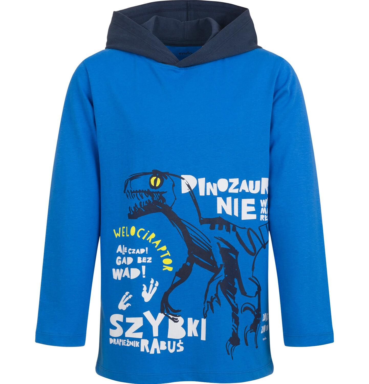 Endo - T-shirt z długim rękawem i kapturem dla chłopca, niebieski, 9-13 lat C04G168_1
