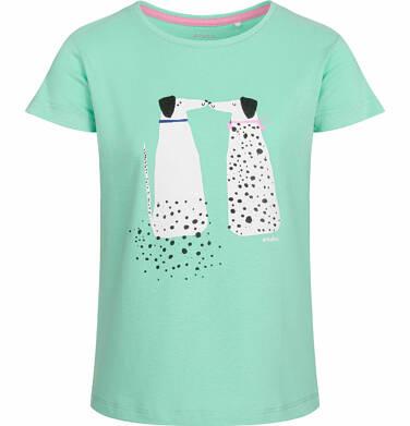 Endo - Bluzka z krótkim rękawem dla dziewczynki, para dalmatyńczyków, zielona, 9-13 lat D03G571_1