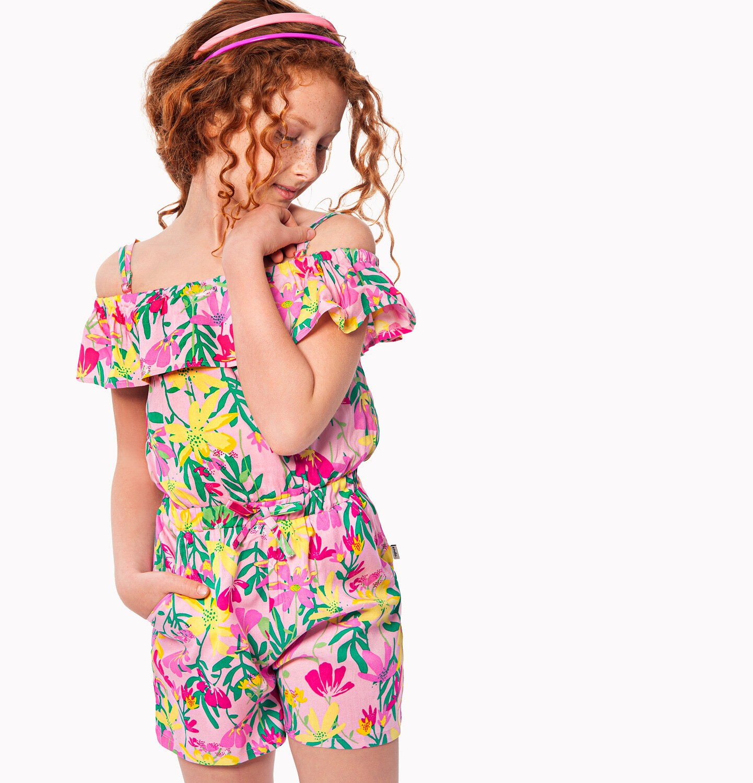 Endo - Kombinezon na ramiączkach, kwiatowy deseń, 9-13 lat D03H550_1