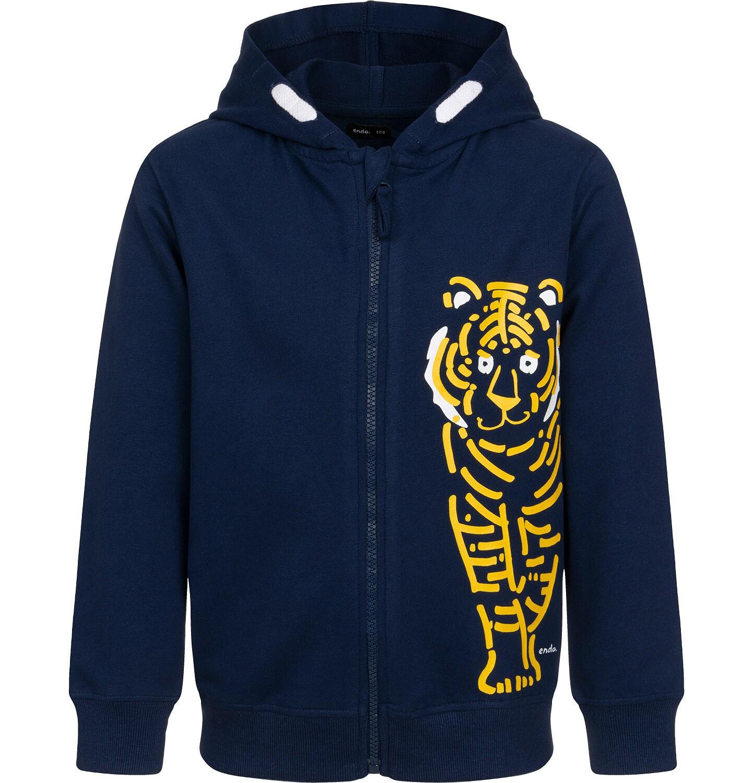 Endo - Rozpinana bluza z kapturem dla chłopca, z tygrysem, granatowa, 2-8 lat C05C022_1