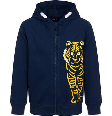 Endo - Rozpinana bluza z kapturem dla chłopca, z tygrysem, granatowa, 2-8 lat C05C022_1,1