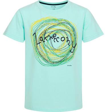 Endo - T-shirt z krótkim rękawem dla chłopca, z napisem zakręcony, miętowy, 9-13 lat C06G188_1 102
