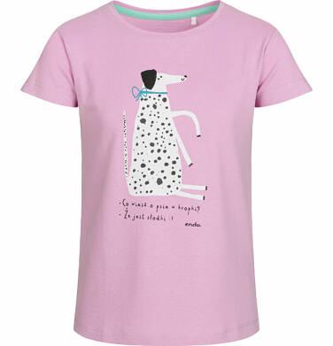 Endo - Bluzka z krótkim rękawem dla dziewczynki, z dalmatyńczykiem, różowa, 9-13 lat D03G572_1