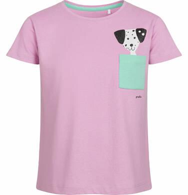 Endo - Bluzka z krótkim rękawem dla dziewczynki, z kieszonką, różowa, 2-8 lat D03G073_1