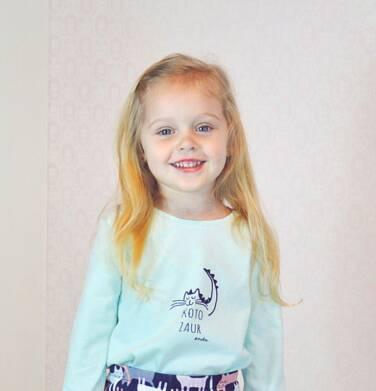 Endo - Bluzka z długim rękawem dla dziewczynki, z kotozaurem, zielona, 2-8 lat D04G100_1 22
