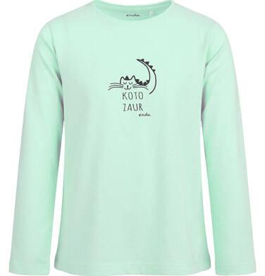 Endo - Bluzka z długim rękawem dla dziewczynki, z kotozaurem, zielona, 2-8 lat D04G100_1 15