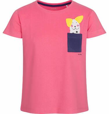 Bluzka z krótkim rękawem dla dziewczynki, z kieszonką, różowa, 2-8 lat D03G074_1
