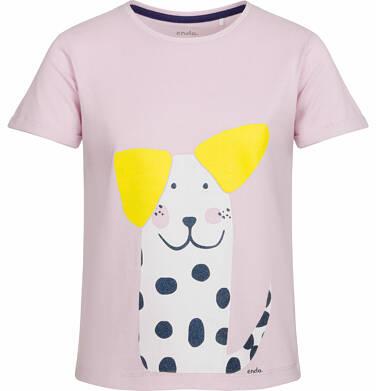 Endo - Bluzka z krótkim rękawem dla dziewczynki, z psem w kropki, różowa, 2-8 lat D03G075_1