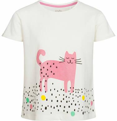 Endo - Bluzka z krótkim rękawem dla dziewczynki, kot w kropki, porcelanowa, 2-8 lat D03G076_1