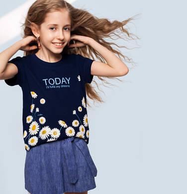 Endo - Krótkie spodenki dla dziewczynki, z ozdobnym paskiem, niebieskie, 9-13 lat D03K561_1,1
