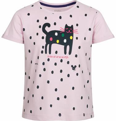Endo - Bluzka z krótkim rękawem dla dziewczynki, kot w kropki, różowa, 2-8 lat D03G077_1