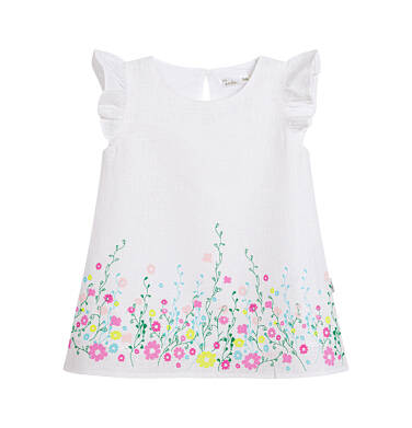 Endo - Sukienka z krótkim rękawem dla dziewczynki, kwiatowy deseń, biała N03H009_1