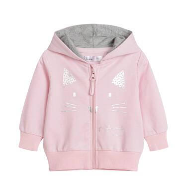 Endo - Rozpinana bluza dresowa z kapturem dla dziecka do 2 lat, z uszami, różowa N03C013_1 16