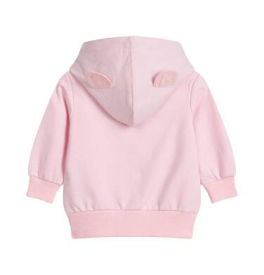 Endo - Rozpinana bluza dresowa z kapturem dla dziecka do 2 lat, z uszami, różowa N03C013_1,2