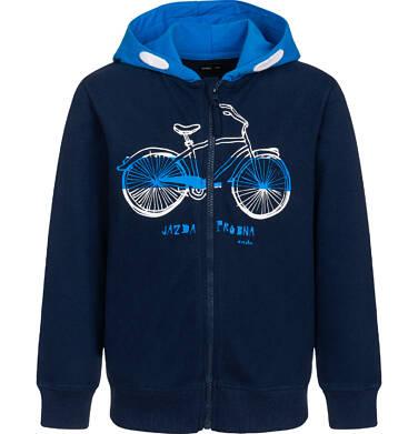 Rozpinana bluza z kapturem dla chłopca, z rowerem i napisem, granatowa, 9-13 lat C05C031_1