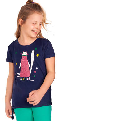 Endo - Bluzka z krótkim rękawem dla dziewczynki, taki oto kot, granatowa, 2-8 lat D03G078_1