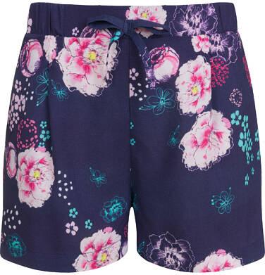 Endo - Krótkie spodenki dla dziewczynki, deseń w kwiaty, granatowe, 9-13 lat D03K553_1