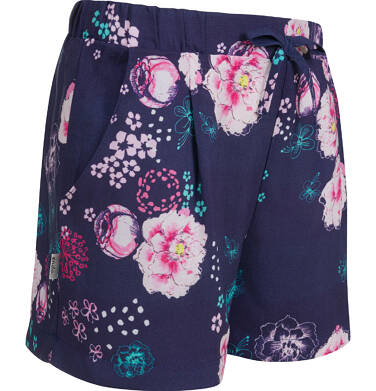 Endo - Krótkie spodenki dla dziewczynki, deseń w kwiaty, granatowe, 9-13 lat D03K553_1 205