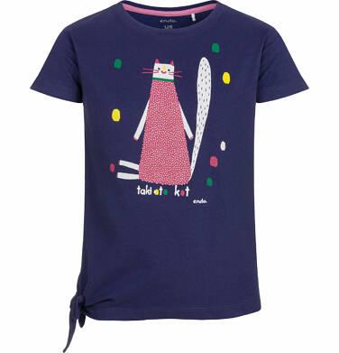 Bluzka z krótkim rękawem dla dziewczynki, taki oto kot, granatowa, 9-13 lat D03G578_1