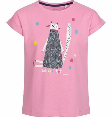 Endo - Bluzka z krótkim rękawem dla dziewczynki, taki oto kot, różowa, 2-8 lat D03G079_1