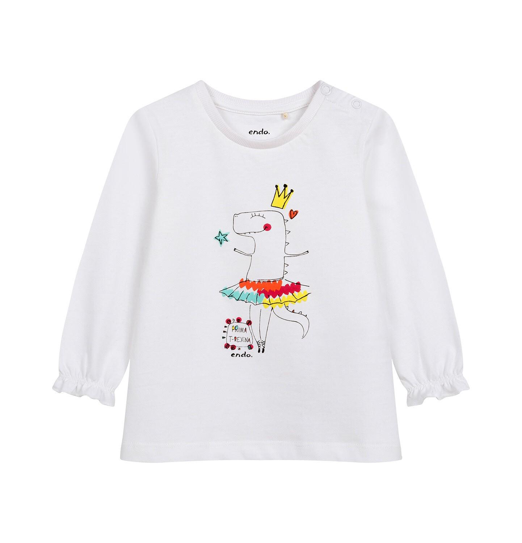 Endo - Bluzka z długim rękawem dla dziecka do 2 lat, różówa N04G024_1