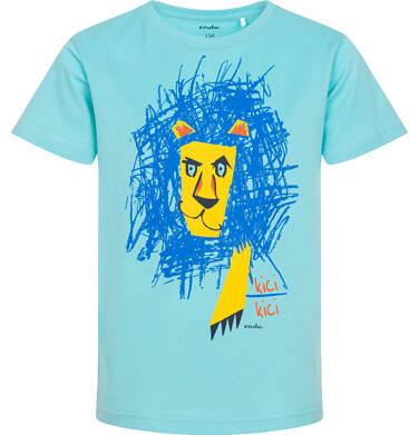 Endo - T-shirt z krótkim rękawem dla chłopca, rysunkowym lwem, niebieski, 9-13 lat C05G160_1 226
