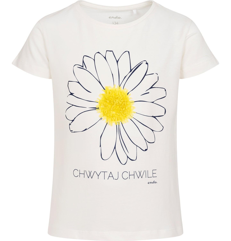 Endo - T-shirt z krótkim rękawem dla dziewczynki, z kwiatkiem 3D i napisem chwytaj chwile, kremowy, 9-13 lat D05G018_1
