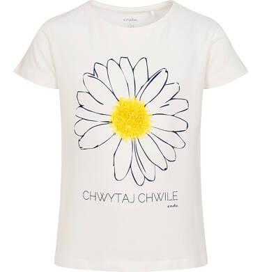 T-shirt z krótkim rękawem dla dziewczynki, z kwiatkiem 3D i napisem chwytaj chwile, kremowy, 9-13 lat D05G018_1