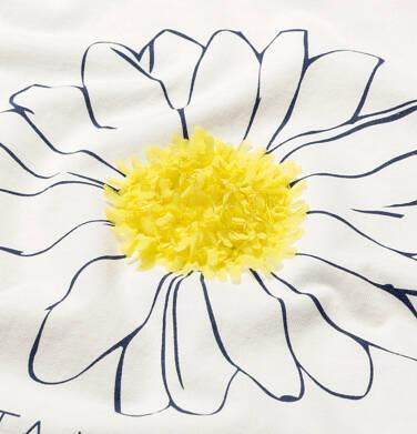 Endo - T-shirt z krótkim rękawem dla dziewczynki, z kwiatkiem 3D i napisem chwytaj chwile, kremowy, 9-13 lat D05G018_1 16