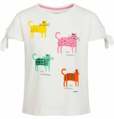 Endo - Bluzka z krótkim rękawem dla dziewczynki, kolorowe koty, porcelanowa, 2-8 lat D03G080_1
