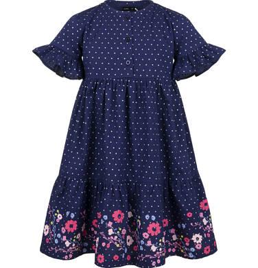 Endo - Sukienka z krótkim rękawem, w kropki z kwiatowym wykończeniem, granatowa, 2-8 lat D03H033_2 6
