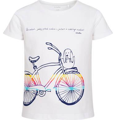 Endo - T-shirt z krótkim rękawem dla dziewczynki, z rowerem i pieskiem w koszyku, biały, 9-13 lat D05G181_2 1