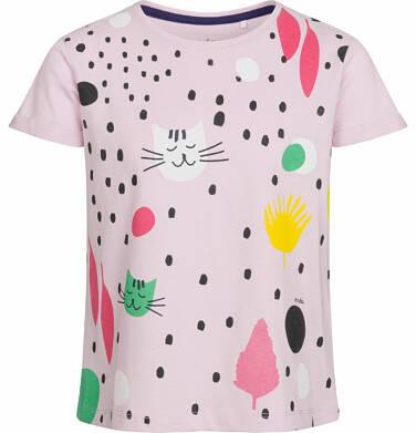 Bluzka z krótkim rękawem dla dziewczynki, deseń w koty, różowa, 2-8 lat D03G081_1