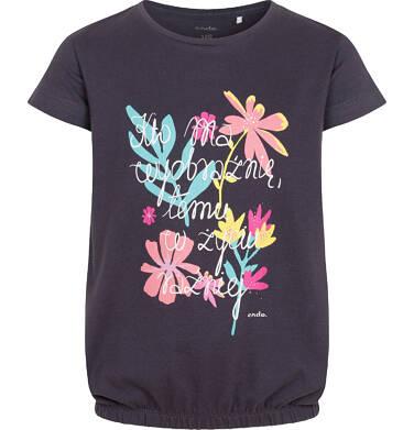 Endo - Bluzka z krótkim rękawem dla dziewczynki, w kolorowe kwiaty, ze ściągaczem na dole, grafitowa, 2-8 lat D05G194_1 13