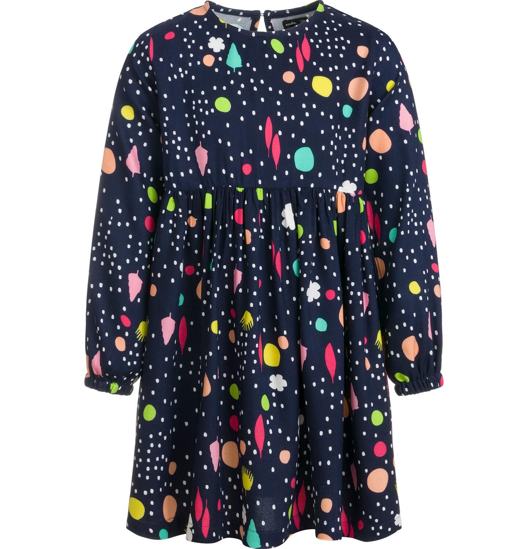 Endo - Sukienka z długim rękawem, kolorowy deseń, granatowa, 2-8 lat D03H061_1