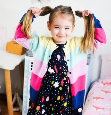 Endo - Sukienka z długim rękawem, kolorowy deseń, granatowa, 2-8 lat D03H061_1 19