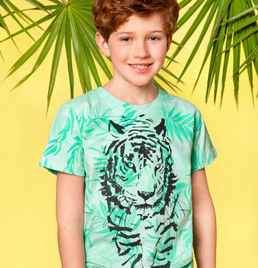 Endo - T-shirt z krótkim rękawem dla chłopca, z tygrysem, zielony w roślinny wzór, 9-13 lat C05G107_1 225