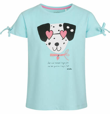 Endo - Bluzka z krótkim rękawem dla dziewczynki, z dalmatyńczykiem w okularach, niebieska, 2-8 lat D03G082_1