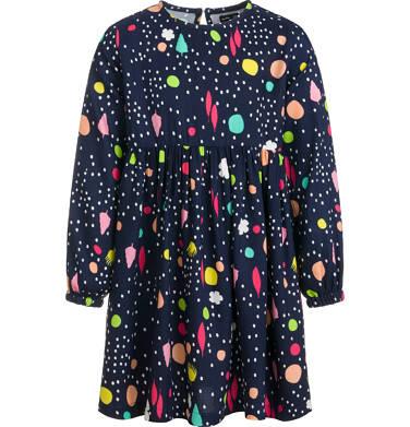 Endo - Sukienka z długim rękawem, kolorowy deseń, granatowa, 9-13 lat D03H561_1 242