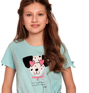 Endo - Bluzka z krótkim rękawem dla dziewczynki, z dalmatyńczykiem w okularach, niebieska, 9-13 lat D03G582_1