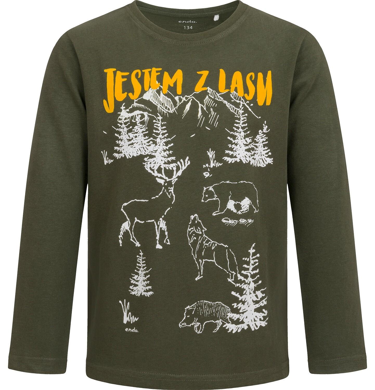 Endo - T-shirt z długim rękawem dla chłopca, leśny motyw, 9-13 lat C04G070_1