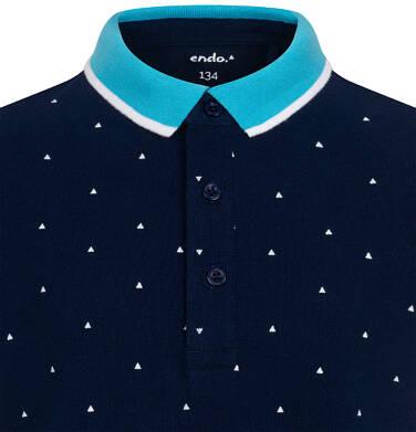 Endo - Koszulka polo z krótkim rekawem dla chłopca, granatowa w drobny wzór, z niebieskim kołnierzykiem, 9-13 lat C05G113_1 2