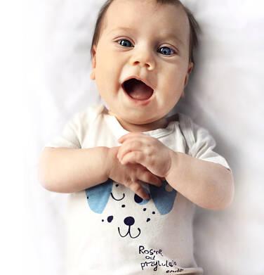Endo - Body z krótkim rękawem dla dziecka do 2 lat, piesek w kropki, białe N03M005_1