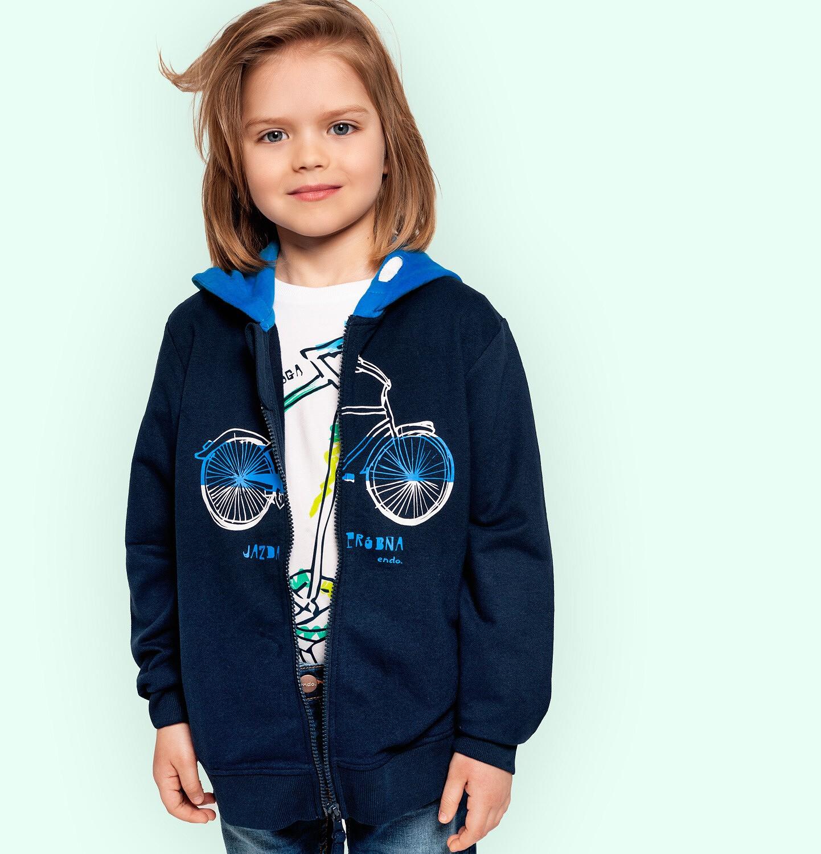 Endo - Rozpinana bluza z kapturem dla chłopca, z rowerem i napisem, granatowa, 2-8 lat C05C032_1